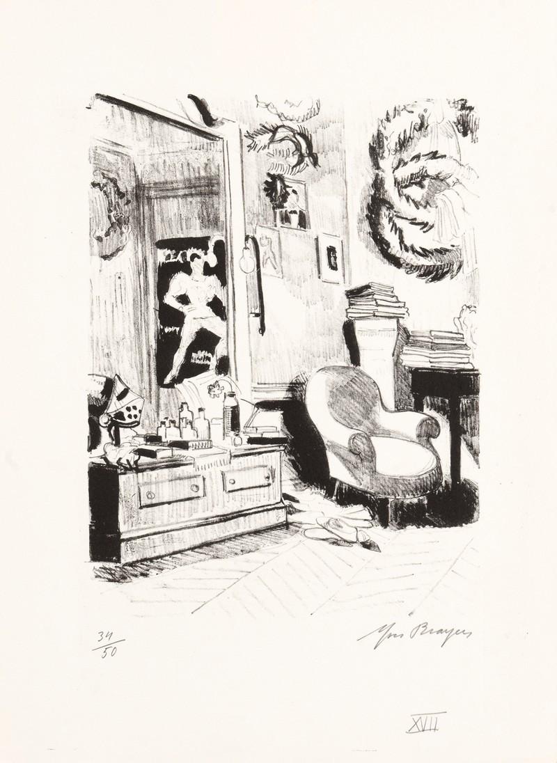 04-C31-YVES-BRAYER-LA-LOGE-DE-SERGE-LIFAR-1969-Lithographie-noir-et-blanc-26x20.5cm-Livre-La-danse-à-l'Opéra