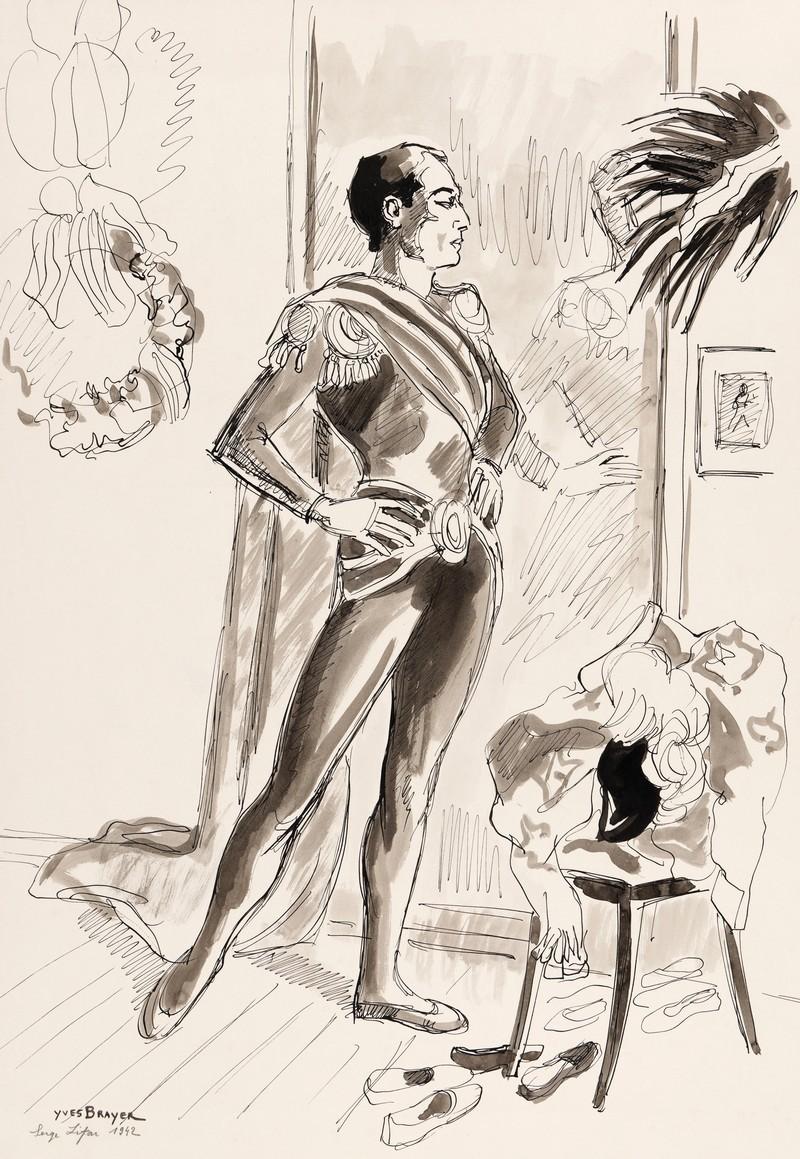 07-C113-YVES-BRAYER-SERGE-LIFAR-DANS-SA-LOGE-1942-Dessin-lavis-d'encre-de-chine-61.5x42.5cm-esquisse-du-grand-portrait