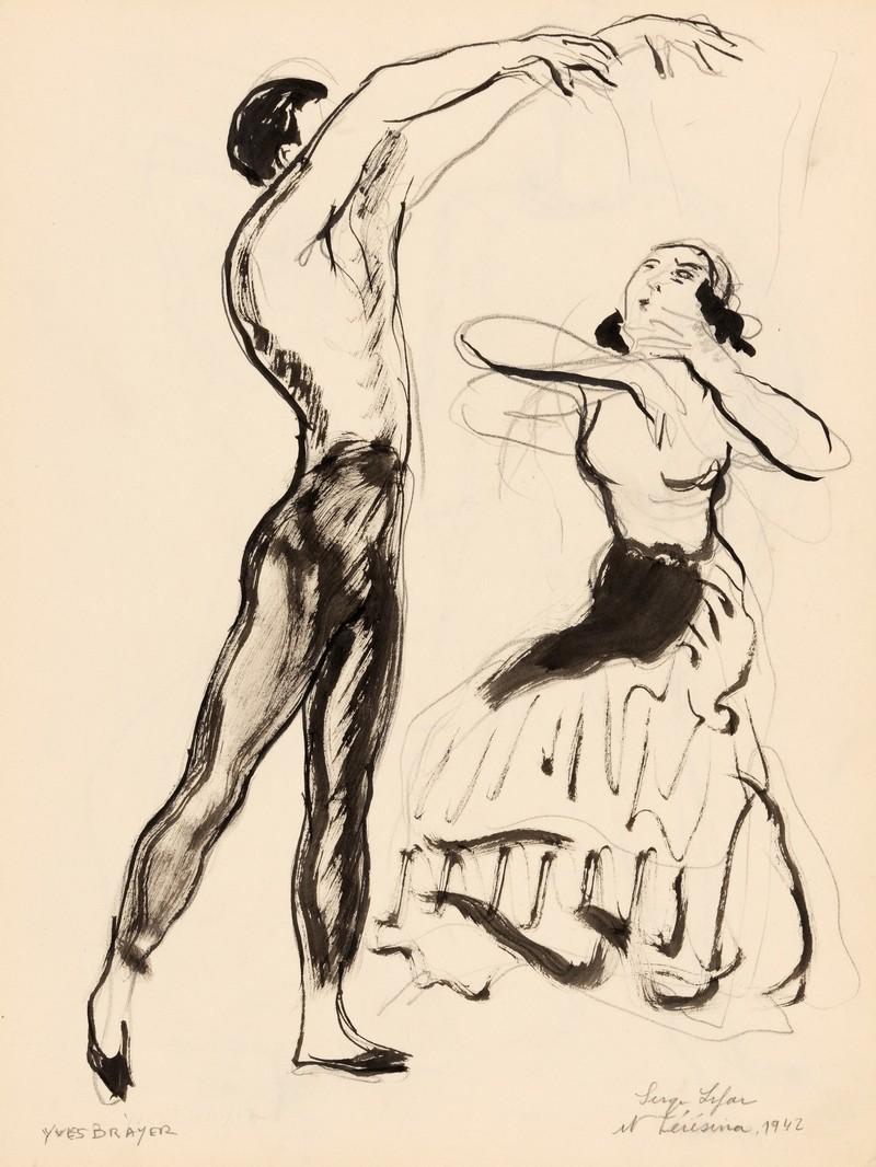 13-K22-YVES-BRAYER-SERGE-LIFAR-ET-TERESINA-1942-Dessin-lavis-d'encre-de-chine-et-4-crayons-35.2x26cm