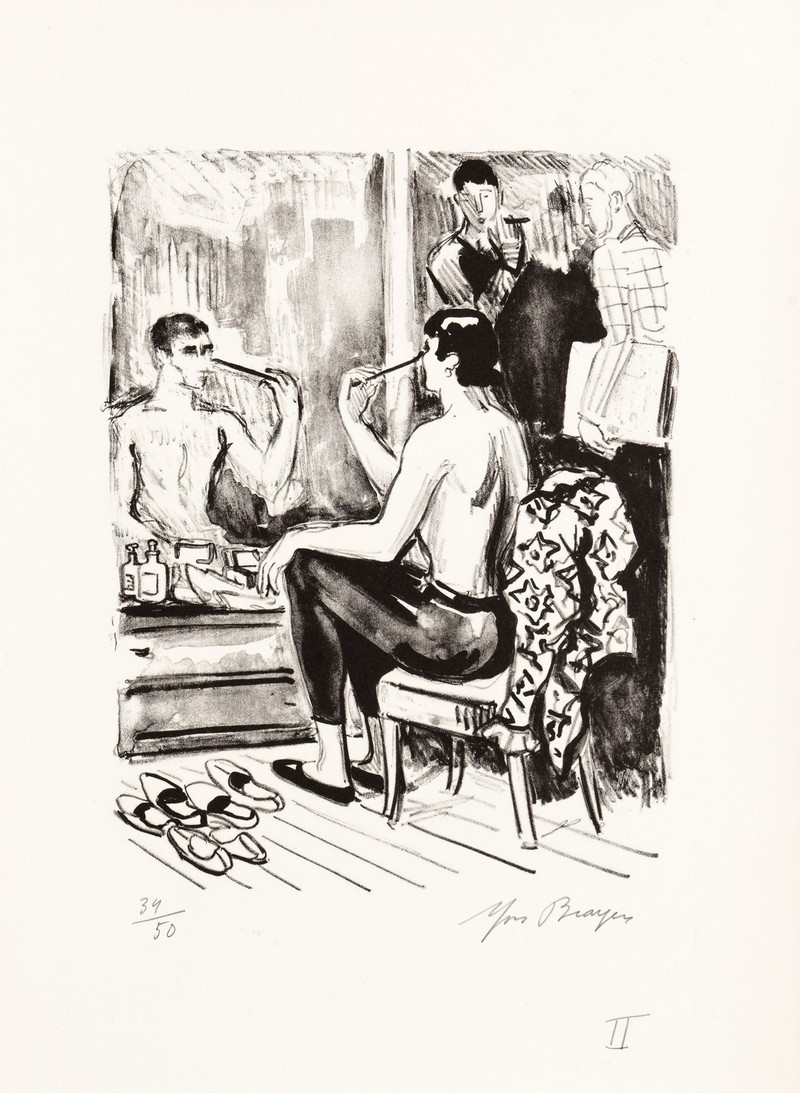 15-K783-YVES-BRAYER-SERGE-LIFAR-SE-MAQUILLANT-DANS-SA-LOGE-1969-Lithographie-26x20.5cm-Livre-La-danse-à-l'Opéra-
