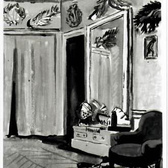 O1814-La-loge-de-Serge-Lifar-à-lOpéra-1942-Aquarelle-et-gouache-53.0x41.0cm-