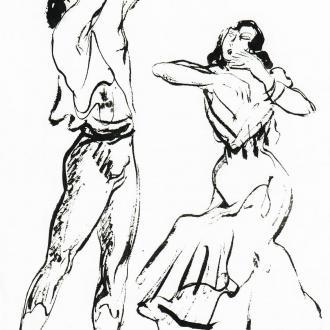 I328-Serge-Lifar-et-Teresina-dans-lAmour-Sorcier-1942-dessin-encre-de-chine-30.0x20.0cm-format-approx-