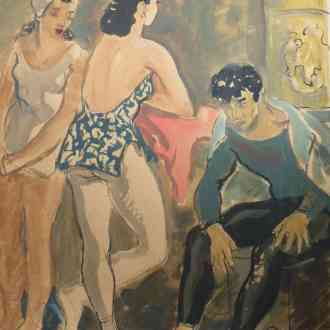 K0536-Yvette-Chauviré-Lycette-Darsonva-et-Serge-Lifar-à-lOpéra-de-Paris-1942-Gouache-41.5x33-cm