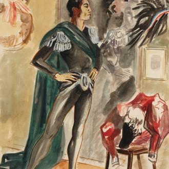 08-C135-YVES-BRAYER-SERGE-LIFAR-DANS-SA-LOGE-1942-Aquarelle-67x47cm-esquisse-du-grand-portrait