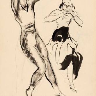 12-K21-YVES-BRAYER-SERGE-LIFAR-ET-TERESINA-1942-Dessin-lavis-d'encre-de-chine-et-4-crayons-34.5x26cm